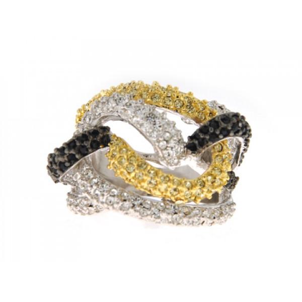 Τρίχρωμο Δαχτυλίδι Sabrina Carrera με Λευκά, Κίτρινα και Μαύρα Swarovski