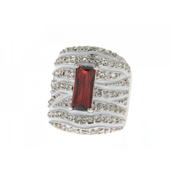 Sabrina Carrera Δαχτυλίδι με Λευκά και Κόκκινα Swarovski και Λευκό Σμάλτο