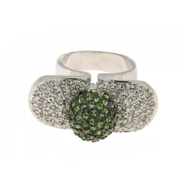 Δαχτυλίδι Sabrina Carrera με Λευκά και Πράσινα Swarovski