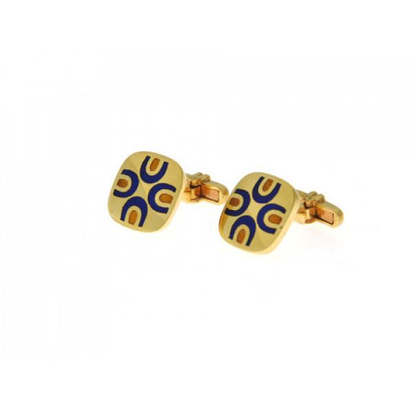 Μανικετόκουμπα με Μπλε Royal Σμάλτα σε Χρυσό Κ18