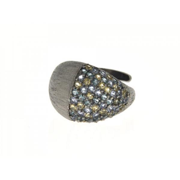 Δαχτυλίδι με Citrine και Blue Topaz από Μαύρο Επιπλατινωμένο Ασήμι