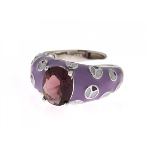 Δαχτυλίδι από Επιπλατινωμένο Ασήμι με Μωβ Σμάλτα και Αμέθυστο