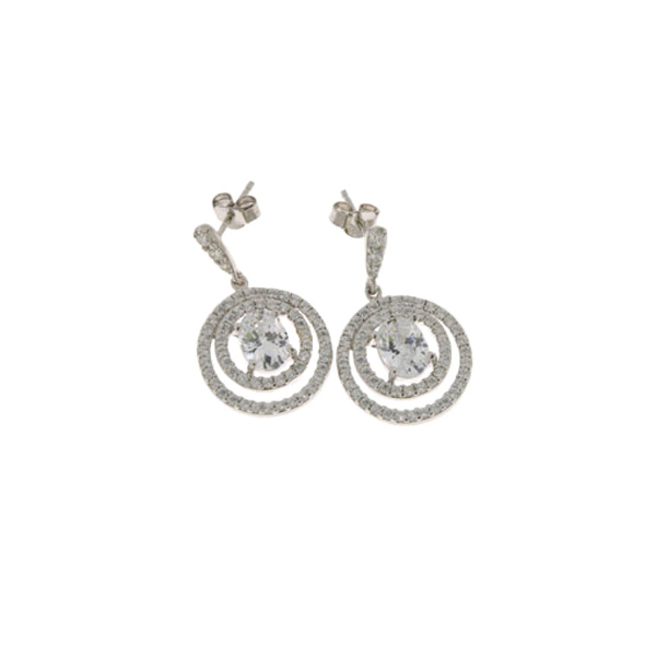 Σκουλαρίκια από Επιπλατινωμένο Ασήμι με Κύκλους με Λευκά Ζαφείρια