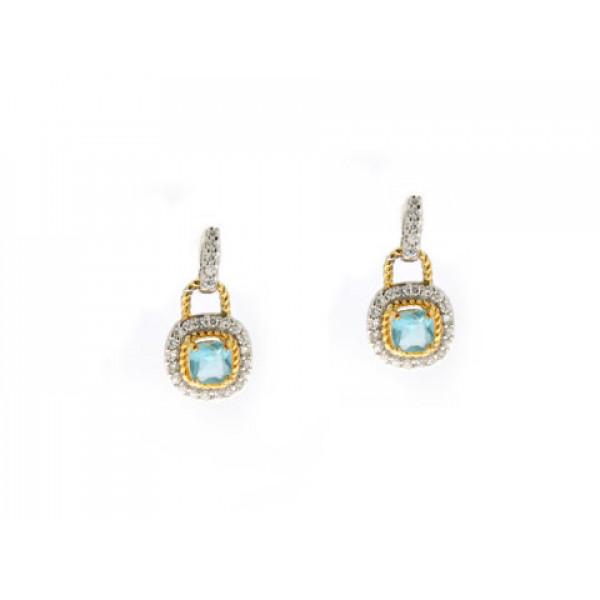 Σκουλαρίκια με Μπλε Τοπάζι από Επιπλατινωμένο Ασήμι με Λεπτομέρειες Χρυσού