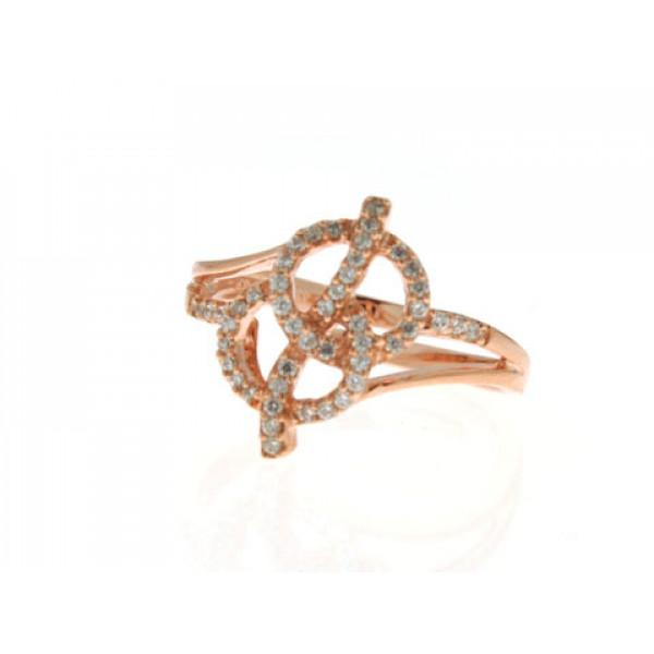 Μίνιμαλ Δαχτυλίδι από Ροζ Επιχρυσωμένο Ασήμι με Λευκά Ζαφείρια