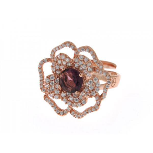 Φλοράλ Δαχτυλίδι από Ροζ Επιχρυσωμένο Ασήμι με Αμέθυστο και Λευκά Ζαφείρια