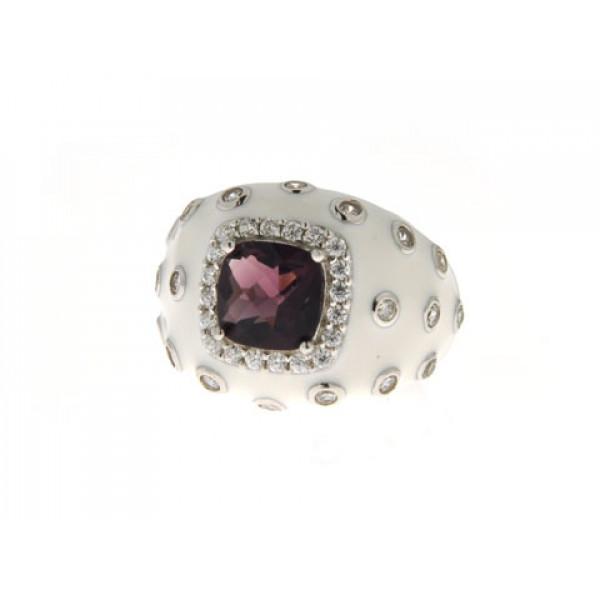 Δαχτυλίδι από Επιπλατινωμένο Ασήμι με Λευκό Σμάλτο διακοσμημένο με Αμέθυστο και Λευκά Ζαφείρια