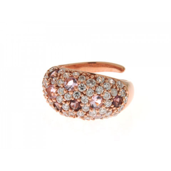 Δαχτυλίδι από Ροζ Επιχρυσωμένο Ασήμι με Αμέθυστους, Ροζ Χαλαζίες και Λευκά Ζαφείρια