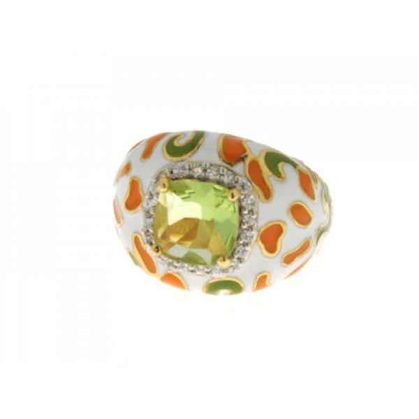 Δαχτυλίδι από Επιχρυσωμένο Ασήμι με Πολύχρωμα Σμάλτα και Πράσινο Τοπάζι