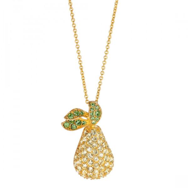 Επίχρυσο Μενταγιόν Αχλάδι με Κίτρινα και Πράσινα Κρύσταλλα Swarovski