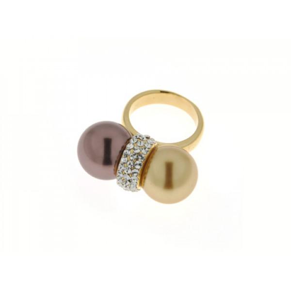 Δαχτυλίδι με Χρυσαφί και Μπρονζέ Πέρλα και Επιμετάλλωση Χρυσού