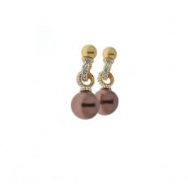 Σκουλαρίκια με Μπρονζέ Πέρλες