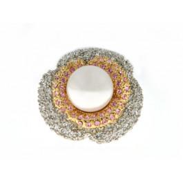 Δίχρωμο Δαχτυλίδι Λουλούδι Πέρλα