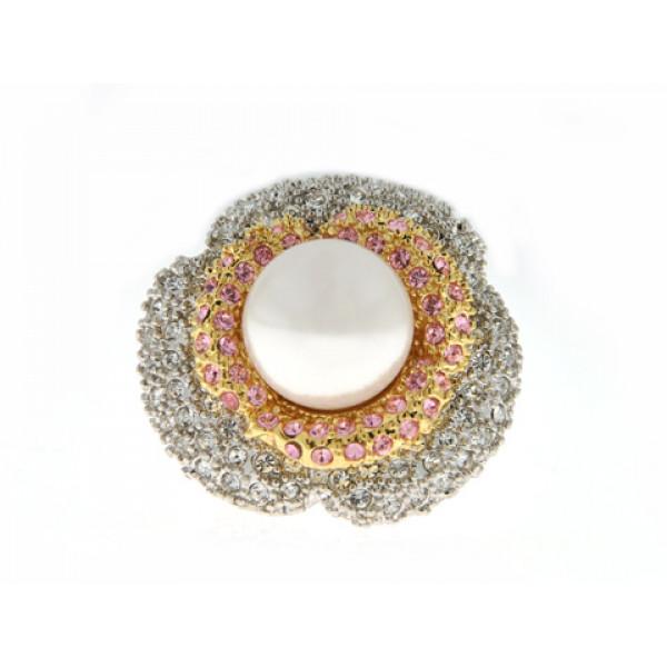 Δίχρωμο Δαχτυλίδι Λουλούδι με Πέρλα και Swarovski
