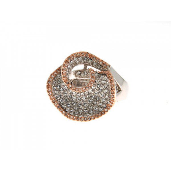 Δίχρωμο Δαχτυλίδι Sabrina Carrera με Λευκά Swarovski