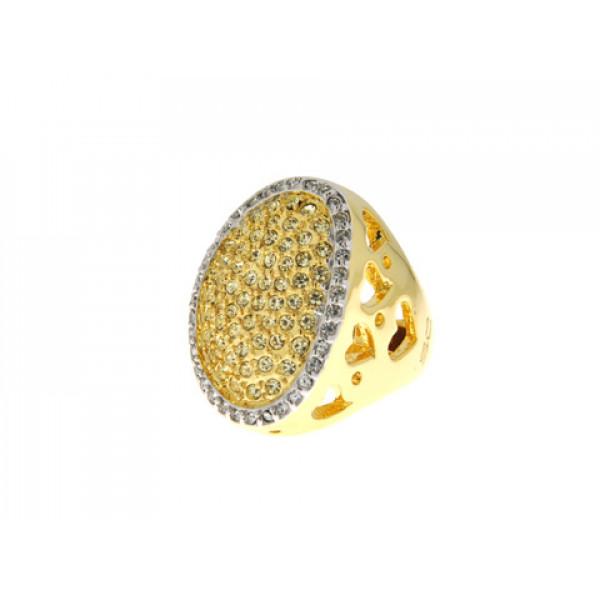 Επίχρυσο Δαχτυλίδι με λευκά και κίτρινα Swarovski