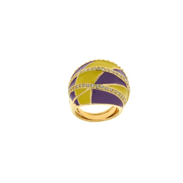 Επίχρυσο Δαχτυλίδι με Λευκά Swarovski και Μωβ και Κίτρινα Σμάλτα