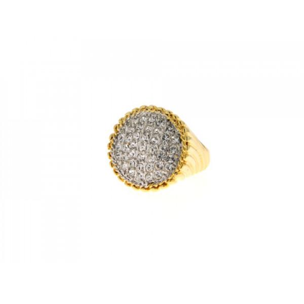 Επίχρυσο Δαχτυλίδι με Λευκά Swarovski