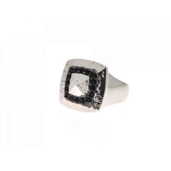 Επιπλατινωμένο Signet Δαχτυλίδι με Μαύρα Swarovski