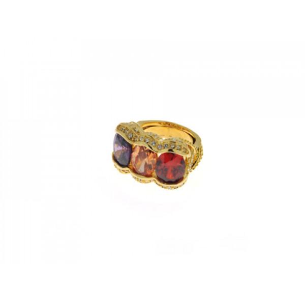 Δαχτυλίδι Επίχρυσο με Λευκά, Κόκκινα, Μωβ και Πορτοκαλί Swarovski