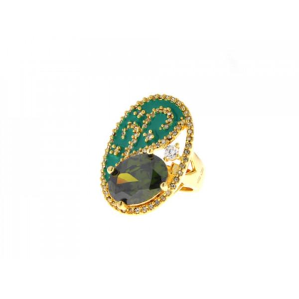 Επίχρυσο Δαχτυλίδι με Swarovski και Πράσινο Σμάλτο