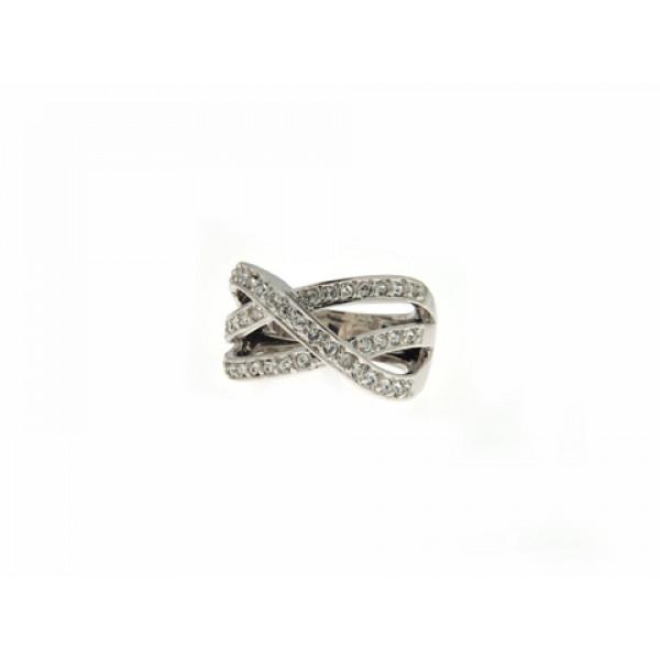 Επιπλατινωμένο Δαχτυλίδι με Λευκά Swarovski