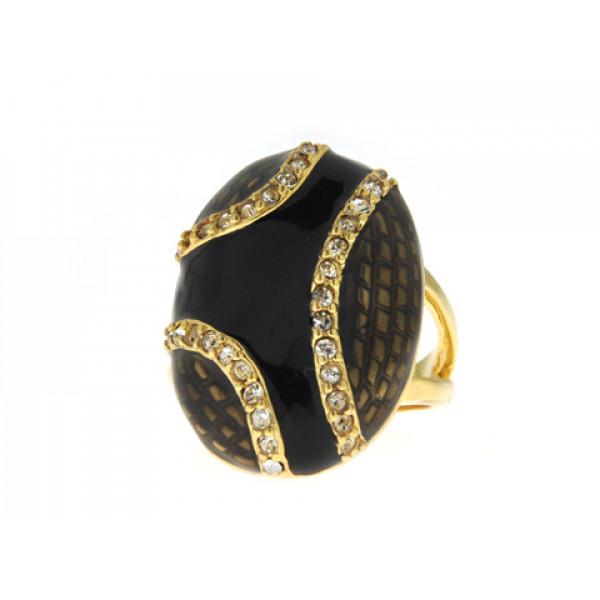 Επίχρυσο Δαχτυλίδι Sabrina Carrera με Μαύρο Σμάλτο και Λευκά Swarovski