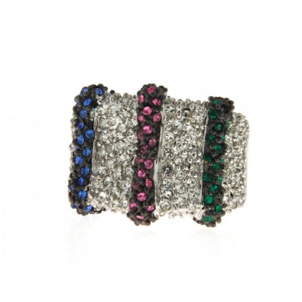 Επιπλατινωμένο Δαχτυλίδι με Πράσινα, Ροζ, Μπλε και Λευκά Swarovski