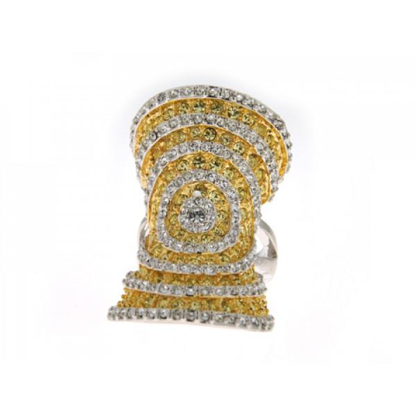 Επιπλατινωμένο Statement Δαχτυλίδι με Λευκά και Κίτρινα Swarovski