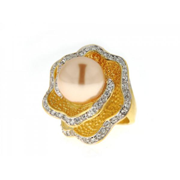 Επίχρυσο Δαχτυλίδι με Πέρλα Μαγιόρκας και Swarovski by Sabrina Carrera