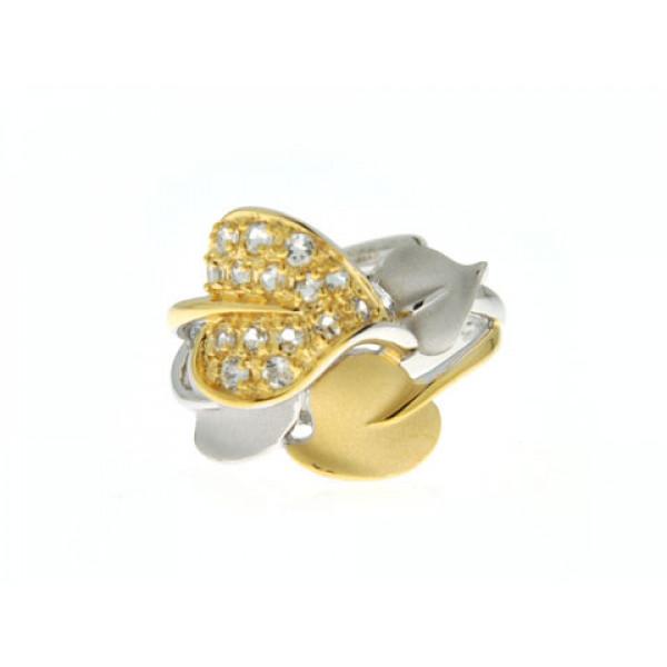 Ασημένιο Δαχτυλίδι με Σχέδιο Φύλλα Λουλουδιού και Επιμετάλλωση Χρυσού και Πλατίνας και Λευκά Ζαφείρια