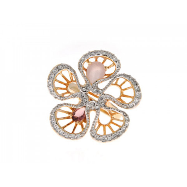 Statement Δαχτυλίδι Φλοράλ με Αμέθυστο, Pink Quartz και Λευκά Ζαφείρια