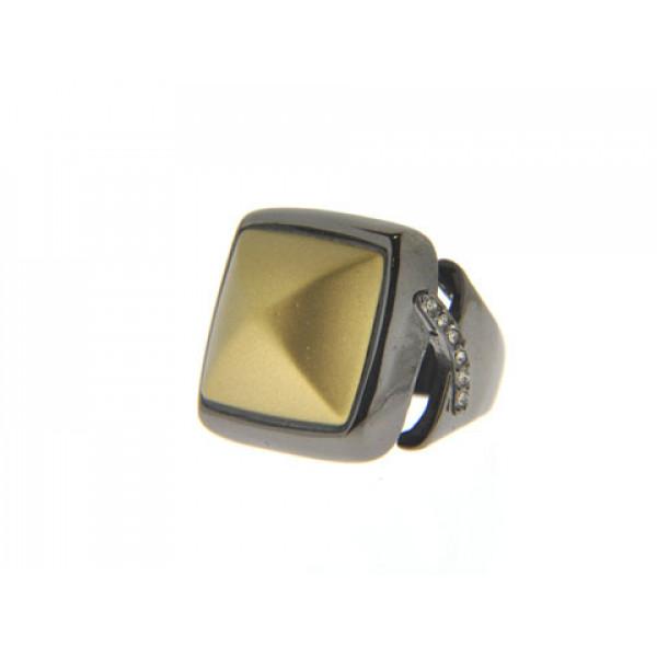 Μαύρο Δαχτυλίδι με Λευκά Ζαφείρια