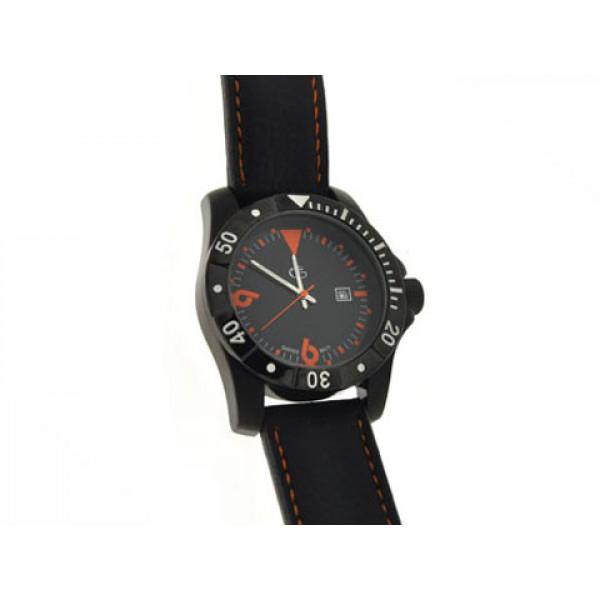 Ρολόι Quartz με Μαύρο Δερμάτινο Λουράκι και Πορτοκαλί Αριθμούς