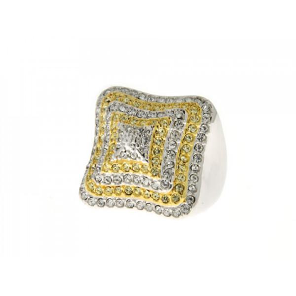 Μπομπέ Δαχτυλίδι με Επιμετάλλωση Χρυσού και Λευκά Κρύσταλλα Swarovski