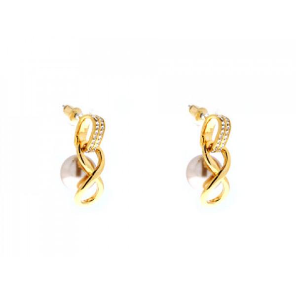 Σκουλαρίκια Άπειρο με Μπρονζέ Πέρλες, Λευκά Ζαφείρια και Επιμετάλλωση Χρυσού