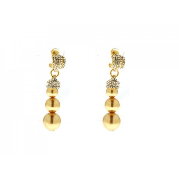 Κρεμαστά Σκουλαρίκια με Επιμετάλλωση Χρυσού, Χρυσοκίτρινες Πέρλες και Λευκά Ζαφείρια