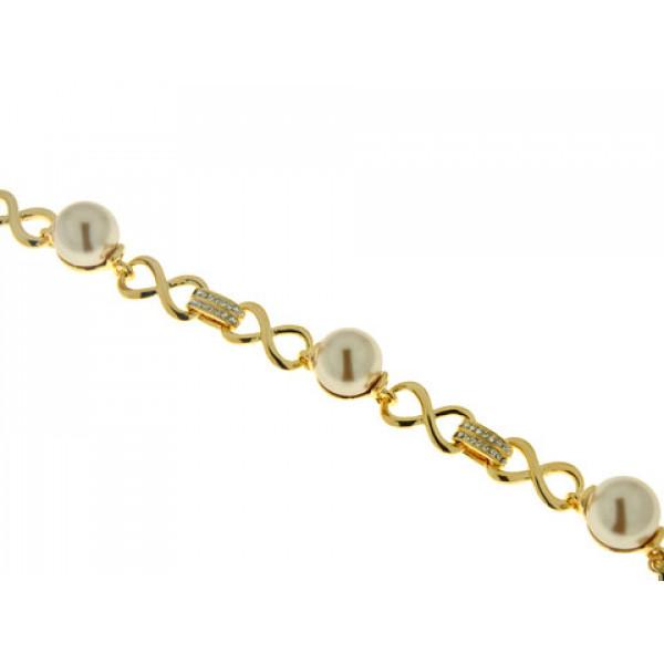 Βραχιόλι Αλυσίδα με Επιμετάλλωση Χρυσού, Λευκά Ζαφείρια και Μπρονζέ-Καφέ Πέρλες