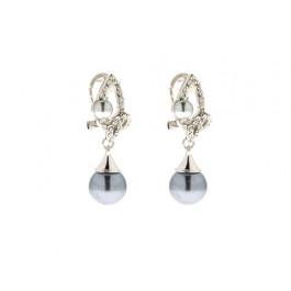 Σκουλαρίκια με Γκρι-Μαύρες Πέρλες