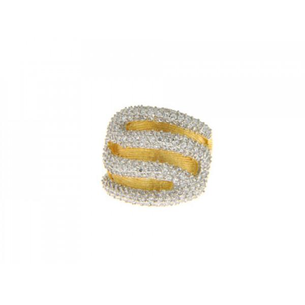 Statement Δαχτυλίδι με Λευκά Ζαφείρια και Επιμετάλλωση Χρυσού