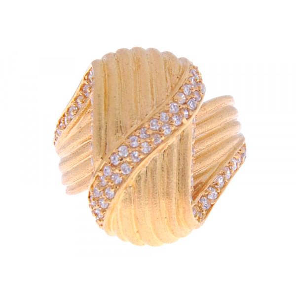 Statement Δαχτυλίδι Επιχρυσωμένο με Λευκά Ζαφείρια