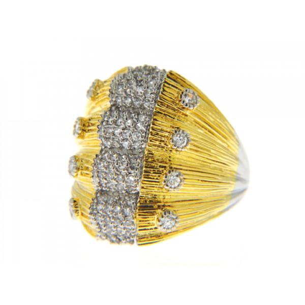 Δίχρωμο Δαχτυλίδι με Επιμετάλλωση Πλατίνας και Κίτρινου Χρυσού και Λευκά Ζαφείρια