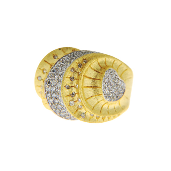 Statement Δαχτυλίδι με Επιμετάλλωση Χρυσού και Λευκά Ζαφείρια
