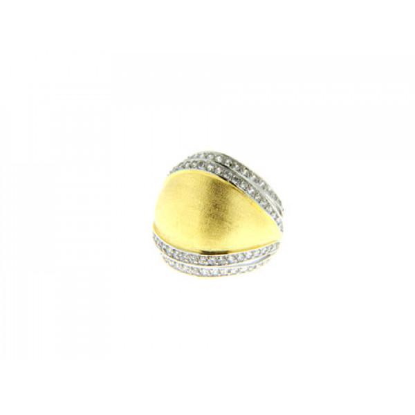 Μίνιμαλ Δαχτυλίδι Επίχρυσο με Λευκά Ζαφείρια