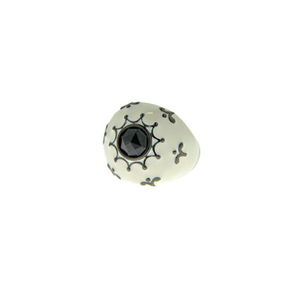Δαχτυλίδι Μπομπέ από Επιπλατινωμένο Ασήμι με Μαύρο Σπινέλιο