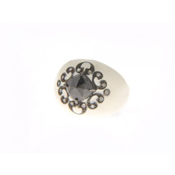 Μπομπέ Δαχτυλίδι από Ασήμι με Μαύρες Επιπλατινωμένες Λεπτομέρειες, Λευκό Σμάλτο και Μαύρο Σπινέλιο