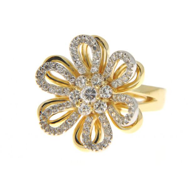 Δαχτυλίδι Λουλούδι με Επιμετάλλωση Χρυσού και Λευκά Ζαφείρια