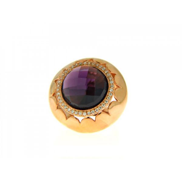 Μπομπέ Δαχτυλίδι από Ροζ Επιχρυσωμένο Brass με Αμέθυστο και Λευκά Ζαφείρια
