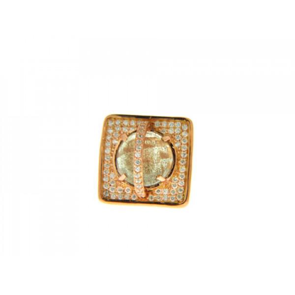 Ροζ Επιχρυσωμένο Δαχτυλίδι με Χρυσόλιθο