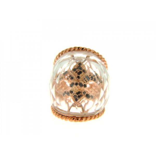 Μπομπέ Δαχτυλίδι με White Crystal Obsidian σε Ροζ Επιχρυσωμένο Brass